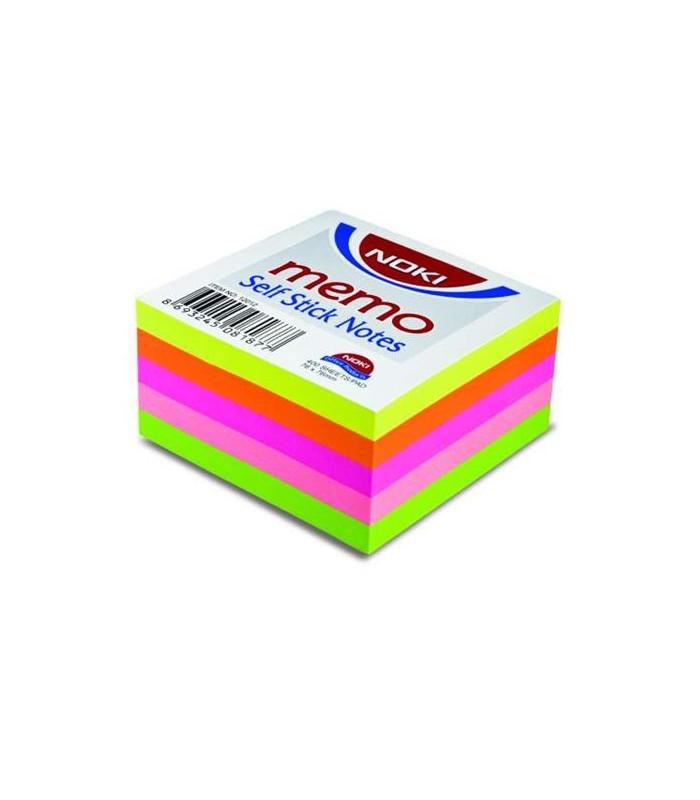 Notes adeziv 76 x 76 mm, 400 file, 5 culori neon NOKI