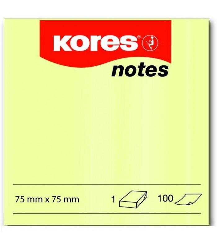 Notes adeziv 75 x 75 mm, 100 file, galben pal  KORES