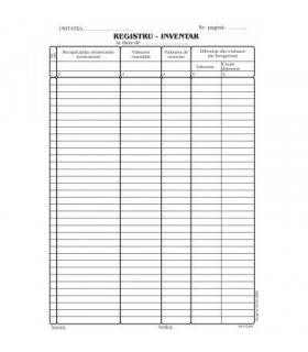 Registru A4 pentru inventar, vertical