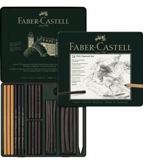 Set desen Pitt Monochrome carbune 24 buc/set FABER-CASTELL