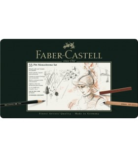 Set grafit + carbune + pastel 33 buc/set Pitt Monochrome FABER CASTELL