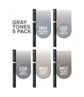 Set 5 markere cu schimbare tonalitate Gray Tones CHAMELEON