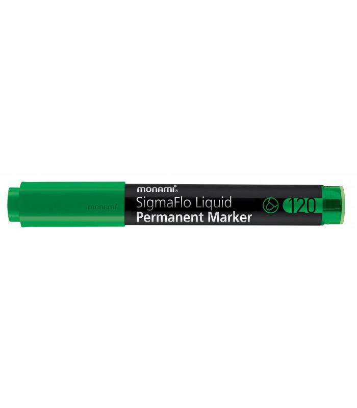 Marker permanent verde SigmaFlo 120, varf rotund 2 mm MONAMI