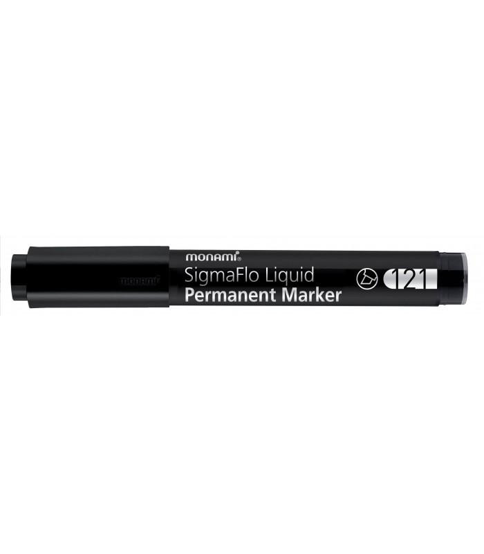 Marker permanent negru, SigmaFlo 121 varf tesit 1.0 - 5.0 mm, MONAMI