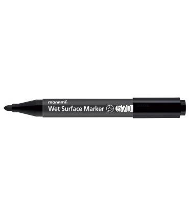 Marker permanent pentru suprafete umede negru, model 570 MONAMI