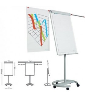 Flipchart magnetic, 105 x 70 cm, cu brate laterale si rotile, Vario SMIT