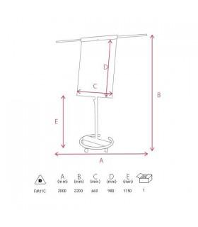 Flipchart magnetic cu brate si roti 105x68 cm Professional Memoboards