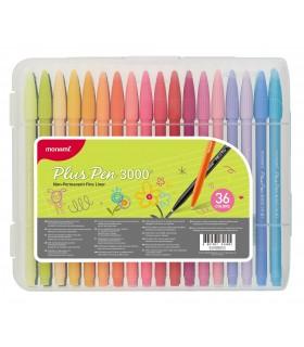 Set liner 36 culori Plus Pen 3000, varf de 0.4 MONAMI