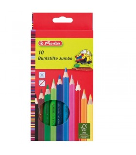 Creioane color hexagonale jumbo 10 bucati HERLITZ