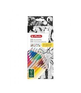 Creioane colorate triunghiulare Zentangle 24 culori HERLITZ