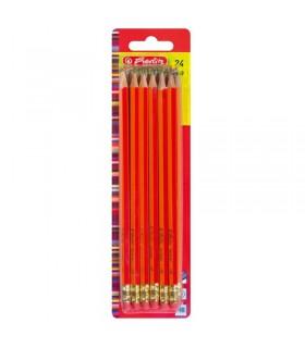Creioane grafit mina HB lacuite rosu 24 creioane set HERLITZ