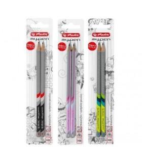 Creion diverse culori My.Pen, mina HB 2 bucati/set HERLITZ