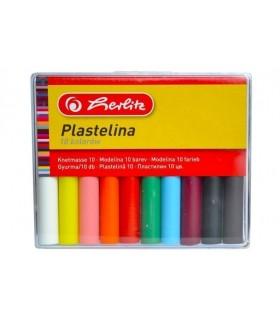 Plastilina 10 culori economic cutie plastic HERLITZ