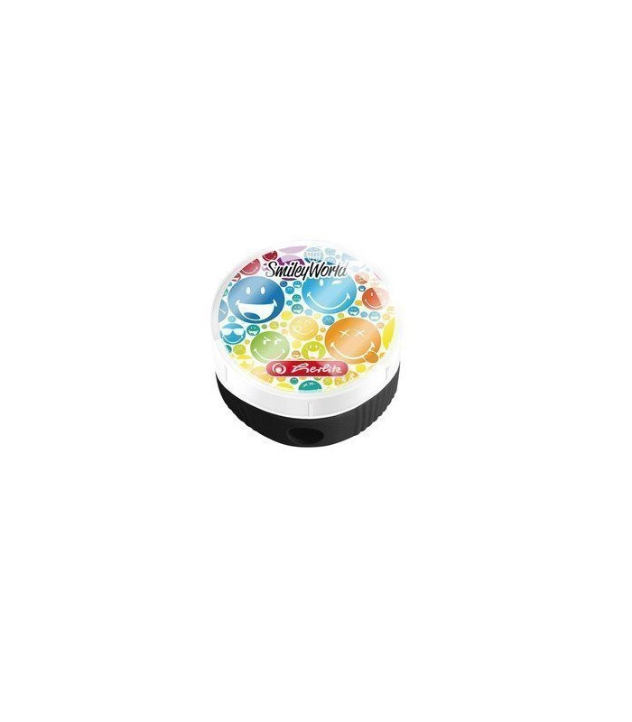 Ascutitoare rotunda cu container motiv SmileyWorld Rainbow HERLITZ