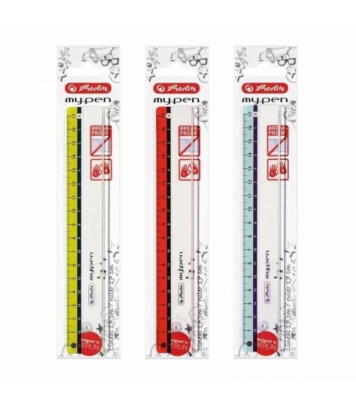 Rigla plastic 17cm My.Pen, disponibil în 3 culori