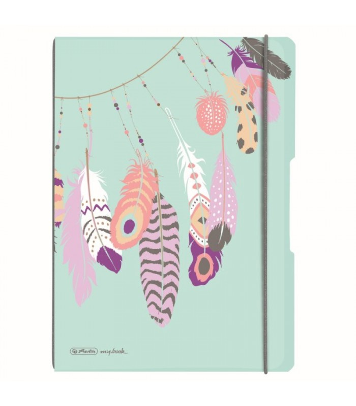 Caiet My.Book Flex A4 2x40 file dictando+matematica Feathers HERLITZ