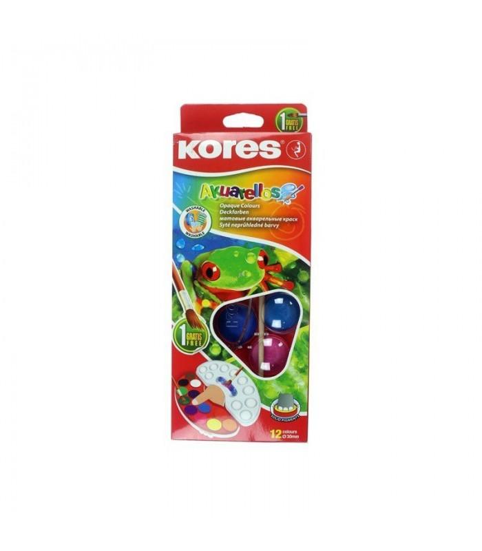 Acuarele Akuarellos 12 culori 30 mm cu pensula KORES