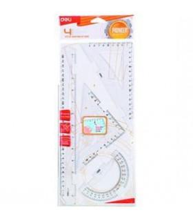 Set geometrie 4 piese transparent (rig.30, ech.16 si 13, rap.12 cm) DELI