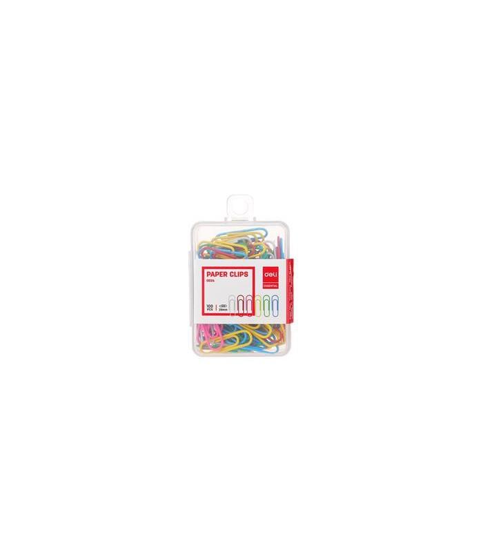 Agrafe birou color, 29 mm, 100 buc/cutie plastic DELI
