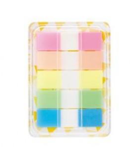 Notes index plastic in dispenser, 12 x 44 mm, 5 culori x 20 file DELI