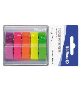 Notes index plastic in dispenser,  12 x 45 mm, 5 culori PELIKAN