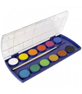 Acuarele 11 culori + 1 alb de zinc + pensula PELIKAN