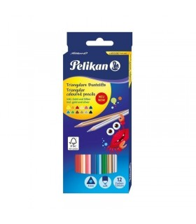 Creioane color lacuite 12 culori triunghiulare PELIKAN
