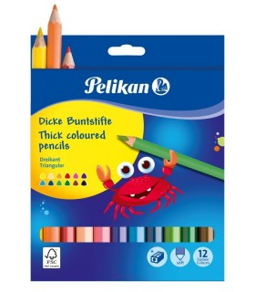 Creioane color Jumbo 12 culori triunghiulare + ascutitoare PELIKAN