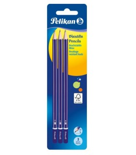 Creion grafit 2B/B/HB, lacuit, 3 bucati/set PELIKAN