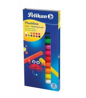 Plastilina set 12 culori fluorescente PELIKAN
