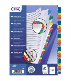 Index carton numeric 1-31, A4 XL, alb cu margine pp color, Mylar ELBA