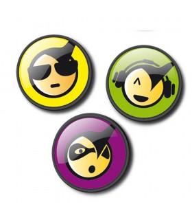 Insigne 3 bucati/set Roller NIKIDOM - Emoticonos cool