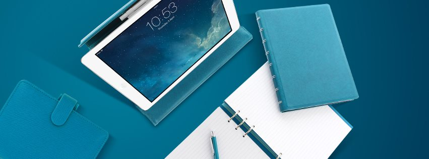 Agenda Notebook Saffiano cu spirala si rezerve A5 Vista Blue FILOFAX