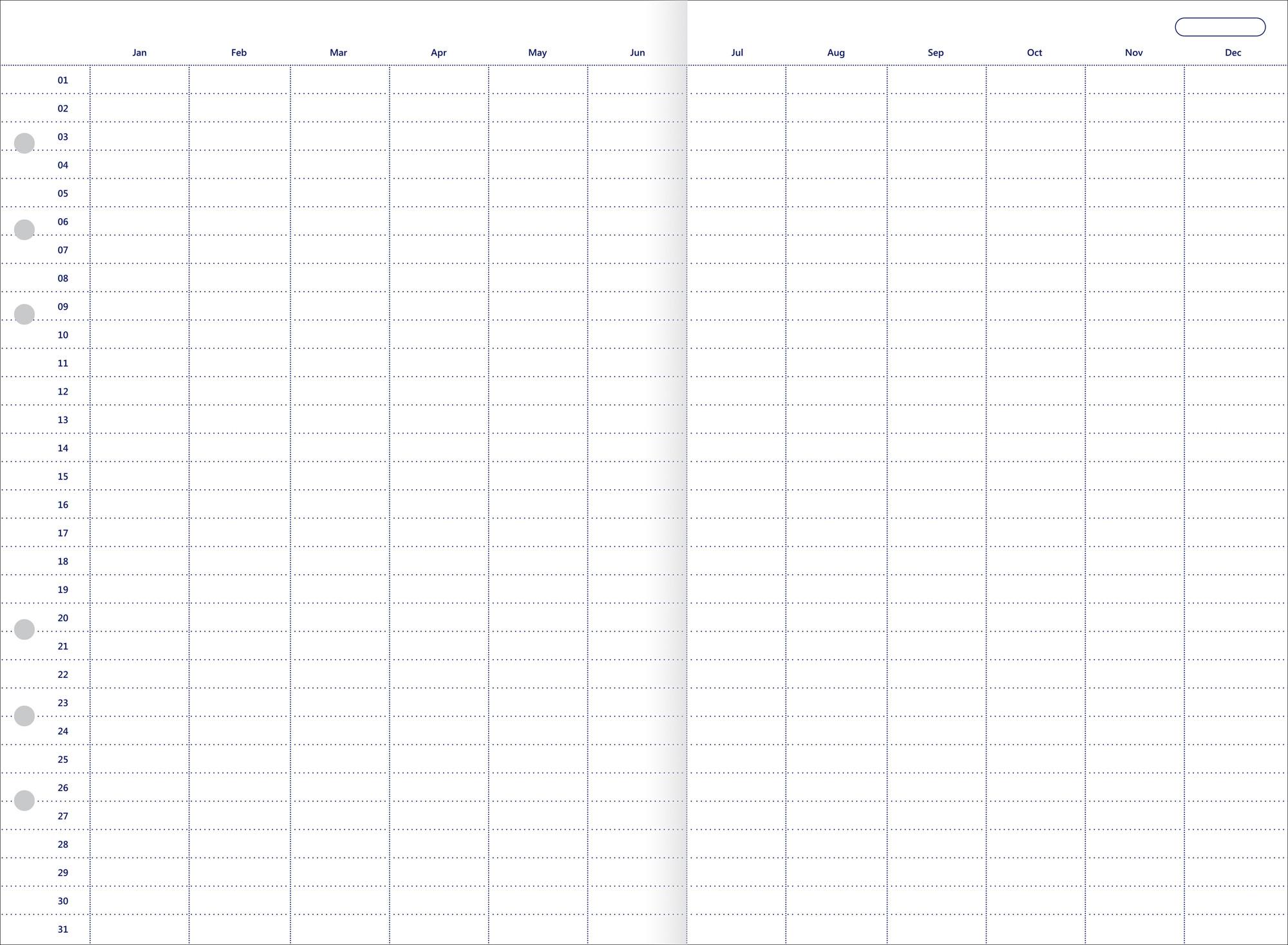 Rezerva hartie FILOFAX anuala 5 buc/set A5, nedatata compatibila Agenda si Clipbook Filofax
