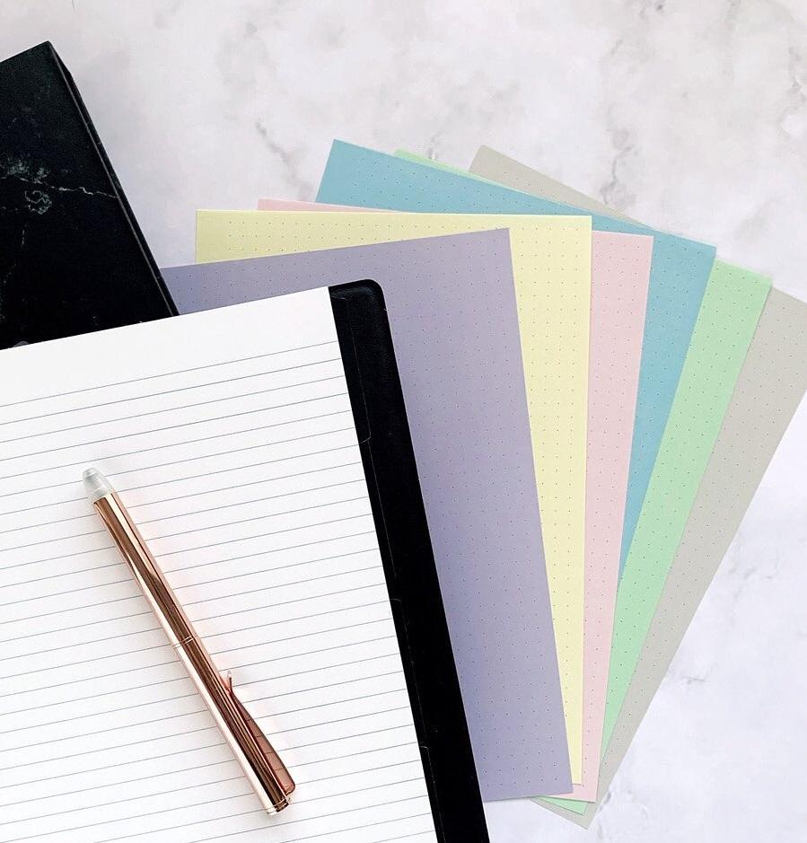 Rezerva hartie punctata Pastel Journal, 60 buc/set A5 compatibila Notebook FILOFAX