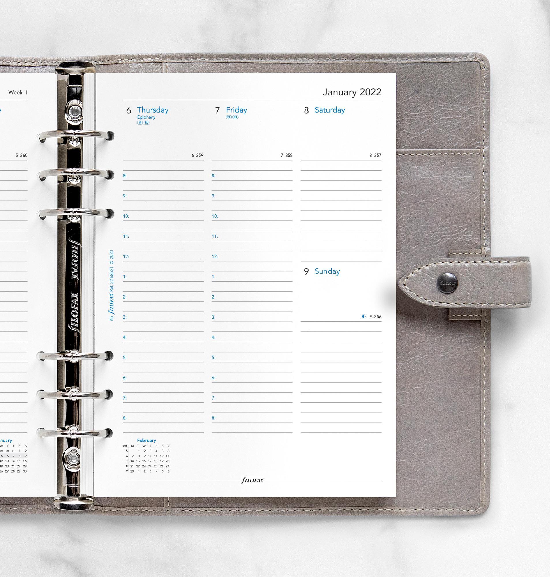 Rezerva hartie saptamanala datata pe 2 pagini A5 compatibila cu Agendele Organiser si cu Clipbook-urile FILOFAX