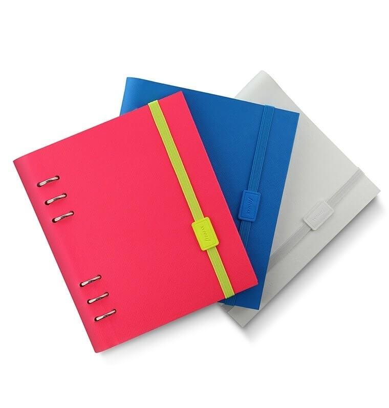 Agenda Clipbook Saffiano Fluoro cu inel si rezerve A5 Pink FILOFAX